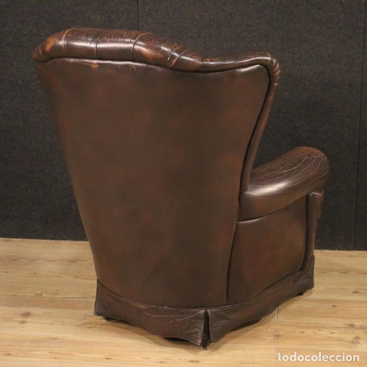 Antigüedades: Sillón inglés en cuero marrón - Foto 6 - 195192707