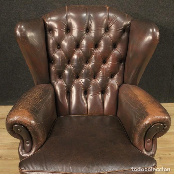 Antigüedades: Sillón inglés en cuero marrón - Foto 7 - 195192707