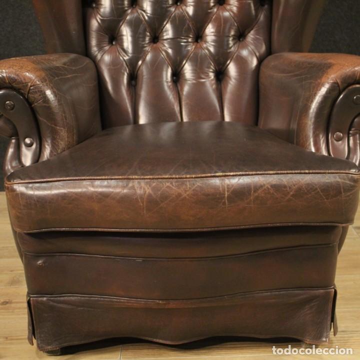 Antigüedades: Sillón inglés en cuero marrón - Foto 8 - 195192707