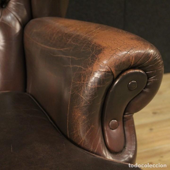 Antigüedades: Sillón inglés en cuero marrón - Foto 9 - 195192707
