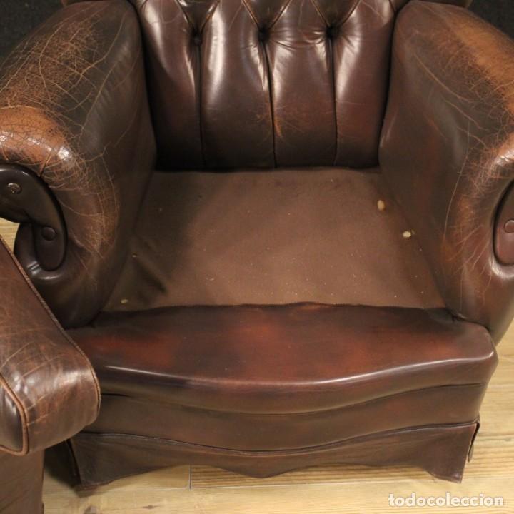 Antigüedades: Sillón inglés en cuero marrón - Foto 10 - 195192707
