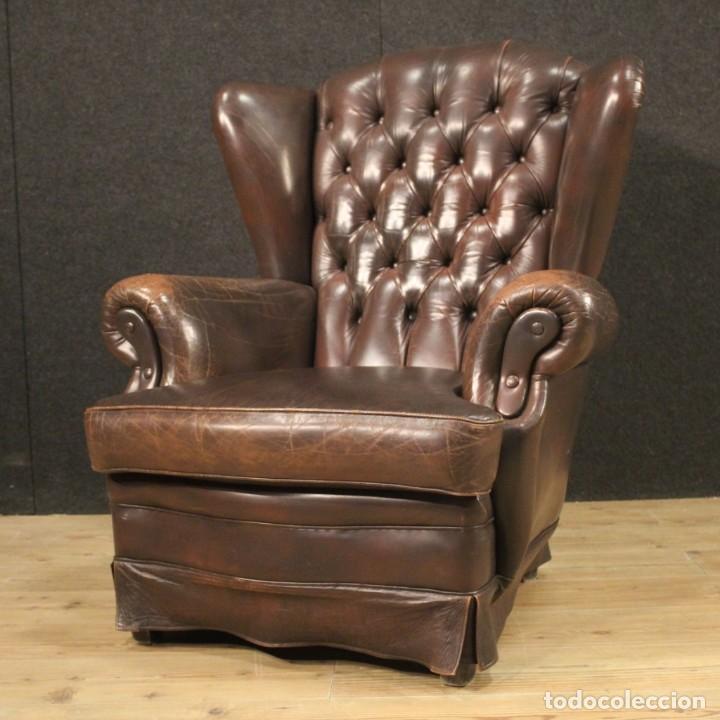Antigüedades: Sillón inglés en cuero marrón - Foto 11 - 195192707
