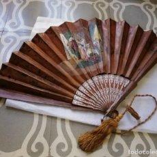 Antigüedades: ABANICO CON PAÍS EN PIEL 1845/1865. Lote 195195560
