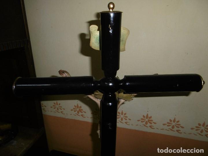 Antigüedades: ANTIGUO CRUCIFIJO DE ALTAR, CRUZ JESÚS, SELLADO OLOT. - Foto 7 - 195200816
