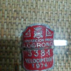 Antigüedades: MATRÍCULA BICICLETA VELOCIPEDOS LOGROÑO 1974. Lote 195204545