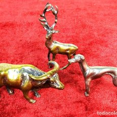 Antigüedades: 3 ANIMALES EN METAL PLATEADO. ESPAÑA. SIGLOS XIX-XX. Lote 195206281