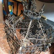 Antigüedades: GRAN FAROL DE FORJA 60 CM DE ALTURA. Lote 195206422