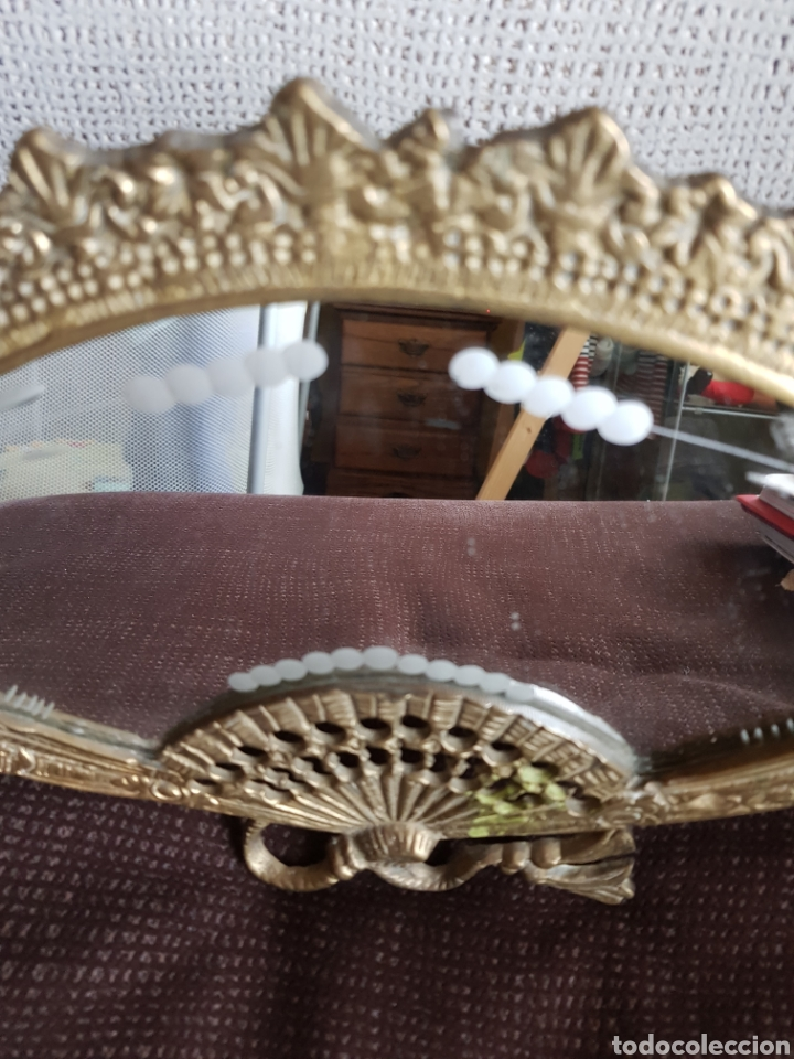 Antigüedades: Espejo de bronce con forma de abanico - Foto 4 - 195208750
