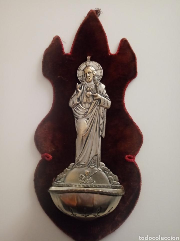 BENDITERA SAGRADO CORAZÓN. BENDITERA PARA EL AGUA BENDITA DE METAL Y TERCIOPELO.DESCOSIDA (Antigüedades - Religiosas - Benditeras)