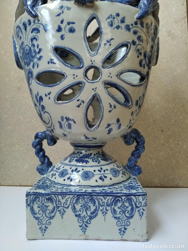 Antigüedades: JARRON PORTAVELAS - TALAVERA HENCHE - Foto 3 - 195220545