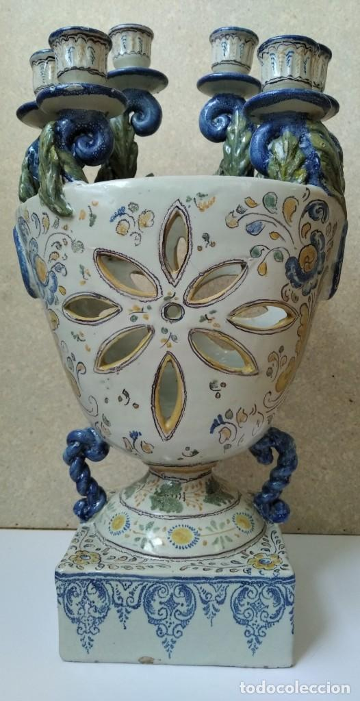 JARRON PORTAVELAS - TALAVERA HENCHE (Antigüedades - Porcelanas y Cerámicas - Talavera)