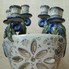 Antigüedades: JARRON PORTAVELAS - TALAVERA HENCHE. Lote 195221061