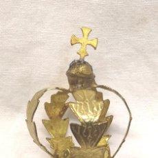 Antigüedades: CORONA LATON CINZELADO Y REPUJADO PARA IMAGEN RELIGIOSA AÑOS 40. MED. 42 MM. Lote 195224337