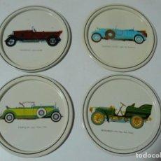 Antigüedades: POSA-VASOS DE CHAPA CON MOTICOS DE AUTOMOVILES ANTIGUOS AÑOS 70. Lote 195226450
