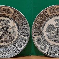 Antigüedades: PAREJA DE PLATOS HONDOS DE SARGADELOS. MARCAS INCISAS AL DORSO. PELOS.. Lote 195227230