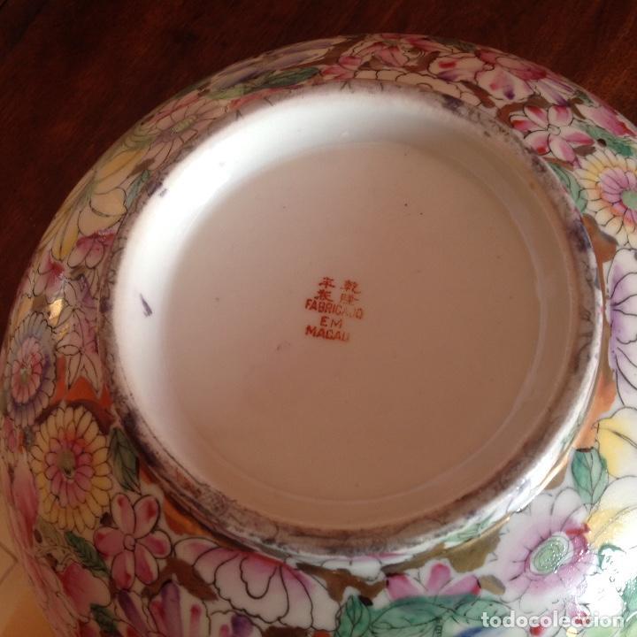 Antigüedades: Gran cuenco con cuchara. Macao. Años 50. Esmalte y oro. - Foto 6 - 195227945