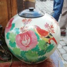 Antigüedades: TIBOR CHINO SIGLO XX PINTADO A MANO CON TAPA EN MADERA DE TEKA. Lote 195240171