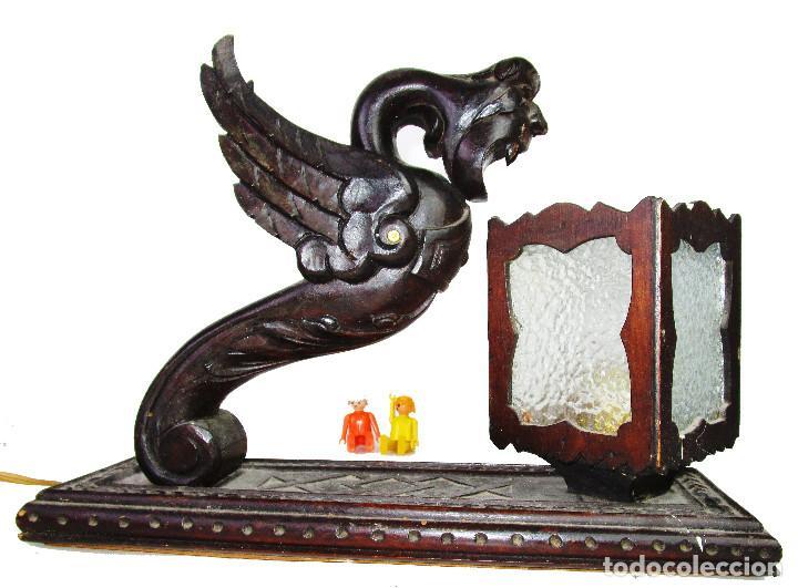 Antigüedades: RARÍSIMA LAMPARA RENACIMIENTO ESPAÑOL PARA DESPACHO MESA A JUEGO ANTIGUA ORIGINAL - Foto 3 - 195242321