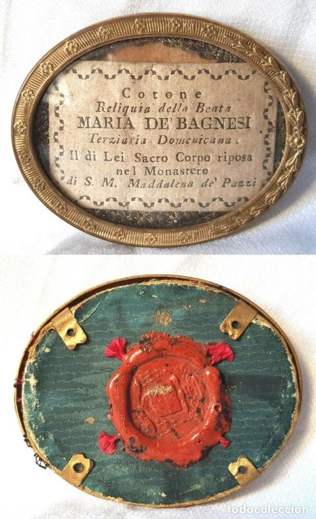 ANTIGUO RELICARIO MARIA DE BAGNESI BARTOLOMEA SELLO DE LACRE DE IGLESIA RELIQUIA (Antigüedades - Religiosas - Relicarios y Custodias)