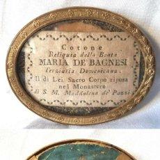 Antigüedades: ANTIGUO RELICARIO MARIA DE BAGNESI BARTOLOMEA SELLO DE LACRE DE IGLESIA RELIQUIA. Lote 195243253