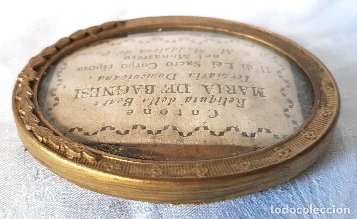 Antigüedades: ANTIGUO RELICARIO MARIA DE BAGNESI BARTOLOMEA SELLO DE LACRE DE IGLESIA RELIQUIA - Foto 2 - 195243253