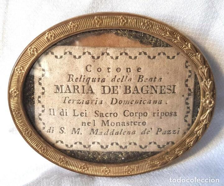 Antigüedades: ANTIGUO RELICARIO MARIA DE BAGNESI BARTOLOMEA SELLO DE LACRE DE IGLESIA RELIQUIA - Foto 4 - 195243253