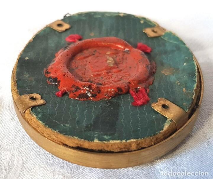 Antigüedades: ANTIGUO RELICARIO MARIA DE BAGNESI BARTOLOMEA SELLO DE LACRE DE IGLESIA RELIQUIA - Foto 7 - 195243253