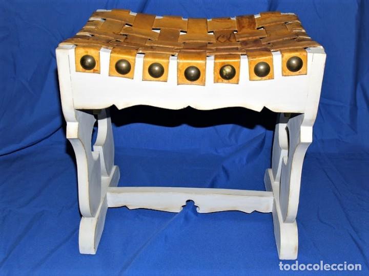 Antigüedades: Banqueta en cuero y madera años 60 - Foto 2 - 195244433