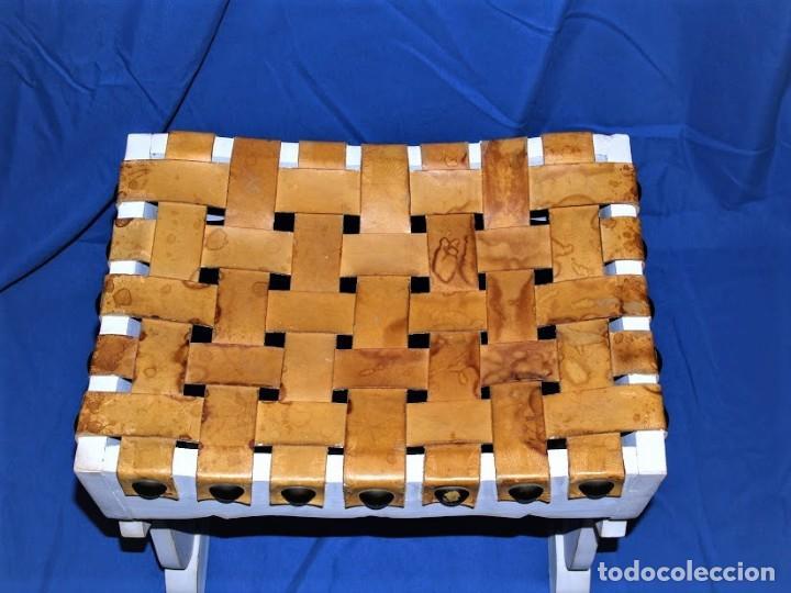 Antigüedades: Banqueta en cuero y madera años 60 - Foto 3 - 195244433