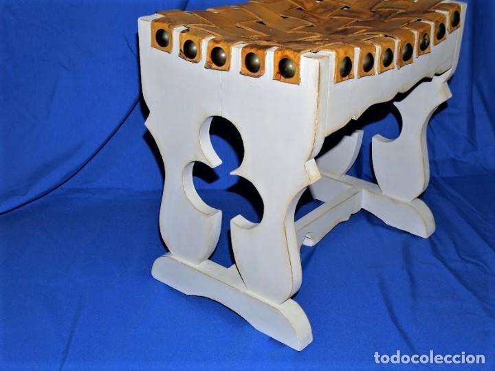 Antigüedades: Banqueta en cuero y madera años 60 - Foto 6 - 195244433