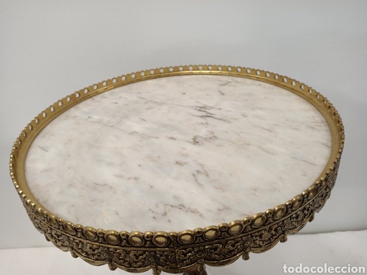 Antigüedades: Mesa velador madera, bronce y marmol - Foto 5 - 195246893