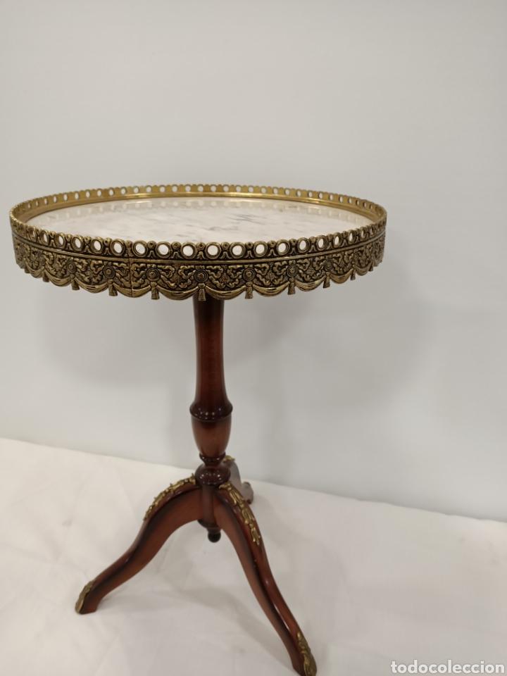 Antigüedades: Mesa velador madera, bronce y marmol - Foto 3 - 195246893