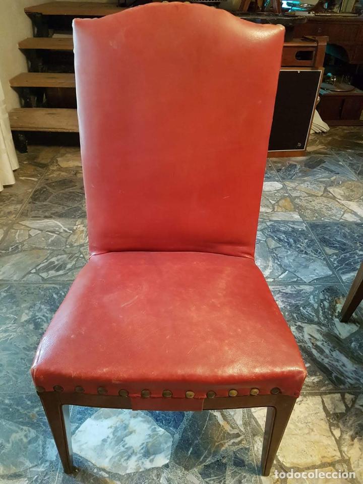 Antigüedades: Conjunto 4 sillas 2 butacones 1 sillón - Foto 3 - 195247168
