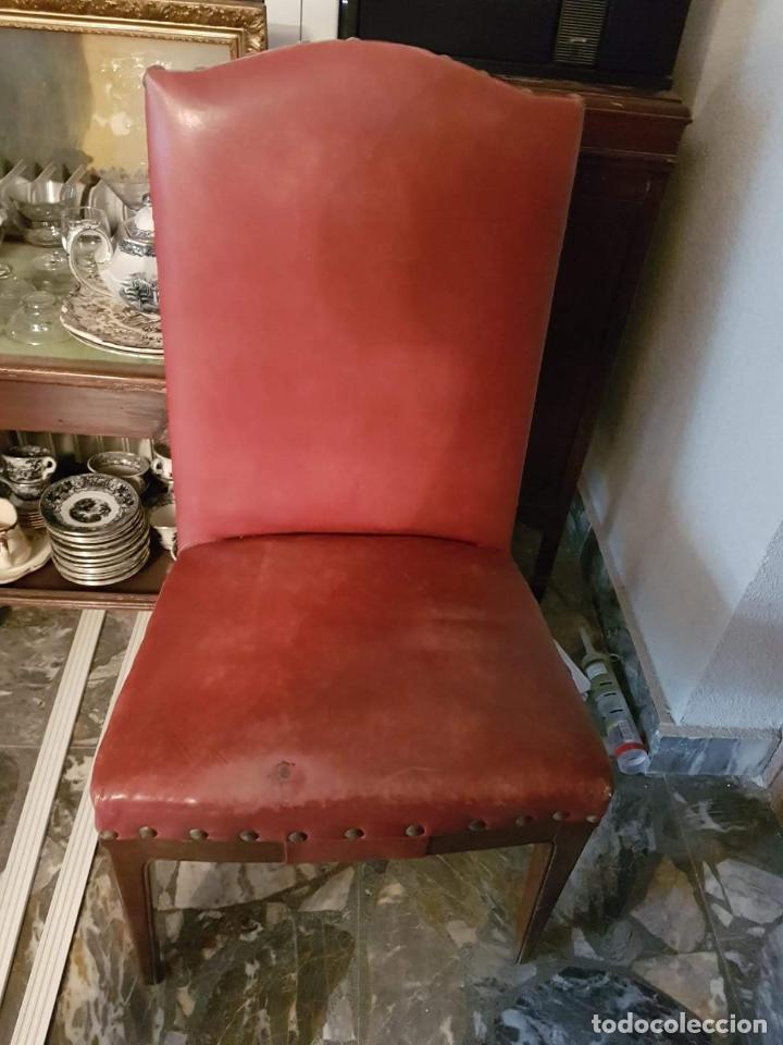 Antigüedades: Conjunto 4 sillas 2 butacones 1 sillón - Foto 5 - 195247168