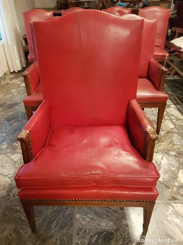 Antigüedades: Conjunto 4 sillas 2 butacones 1 sillón - Foto 12 - 195247168