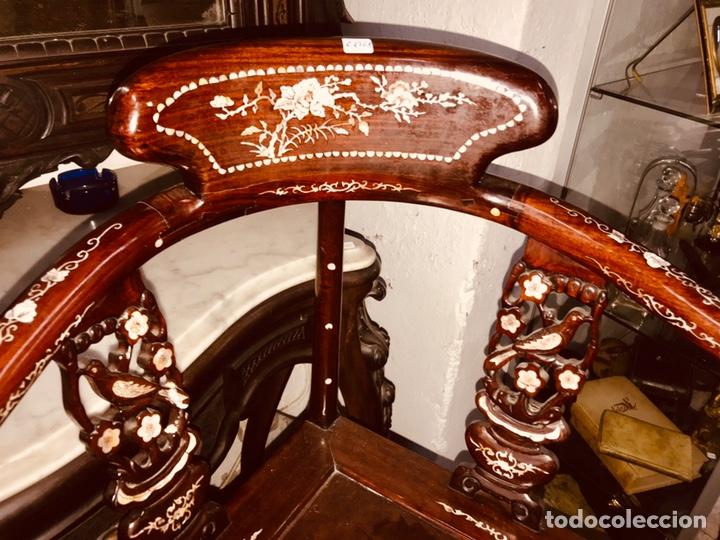 Antigüedades: Silla con incrustaciones de nácar. - Foto 2 - 195261375