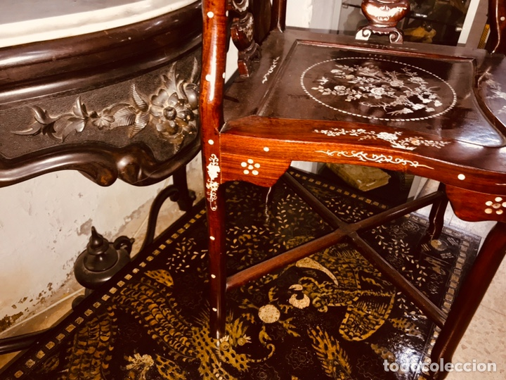 Antigüedades: Silla con incrustaciones de nácar. - Foto 4 - 195261375