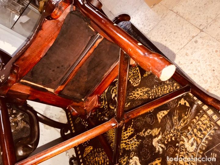 Antigüedades: Silla con incrustaciones de nácar. - Foto 5 - 195261375
