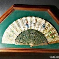 Antigüedades: ANTIGUO ABANICO ISABELINO ESCENA ROMÁNTICA ESPAÑA CIRCA 1850 CON MARCO Y CRISTAL 26 CM. Lote 195262982