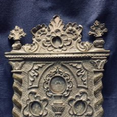Antigüedades: RELICARIO LATON TROQUELADO PPIO S XX ROCALLAS COLUMNAS SALOMONICAS 4 REGISTROS. Lote 195269617