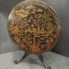 Antigüedades: MESA TILT TOP CON CHINOISERIES, INGLATERRA, S.XIX. Lote 195271885