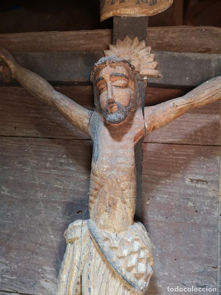 CRISTO MADERA POLICROMADA S. XIX XX (Antigüedades - Religiosas - Crucifijos Antiguos)