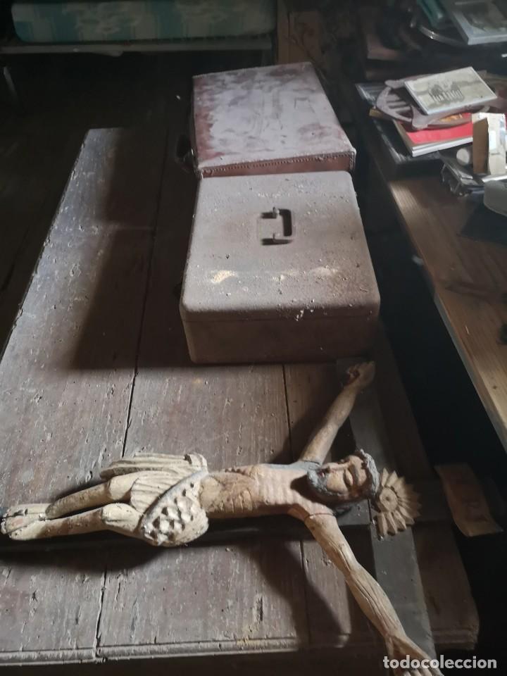 Antigüedades: Cristo madera policromada S. XIX XX - Foto 3 - 195278367