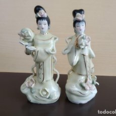 Antigüedades: REBAJAS!!! 2 FIGURAS, CHINA, ANTIGUO. 14 CM, COLOR RARO. Lote 195283196