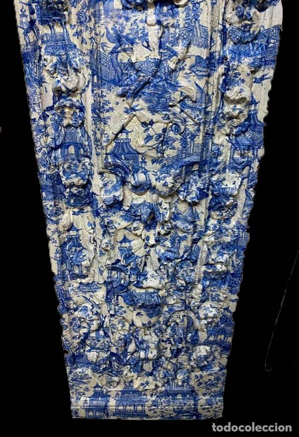 Antigüedades: antigua tabla , toile de jouy en azules, efecto retablo.Preciosa. - Foto 2 - 195283993
