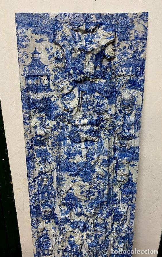 Antigüedades: antigua tabla , toile de jouy en azules, efecto retablo.Preciosa. - Foto 3 - 195283993