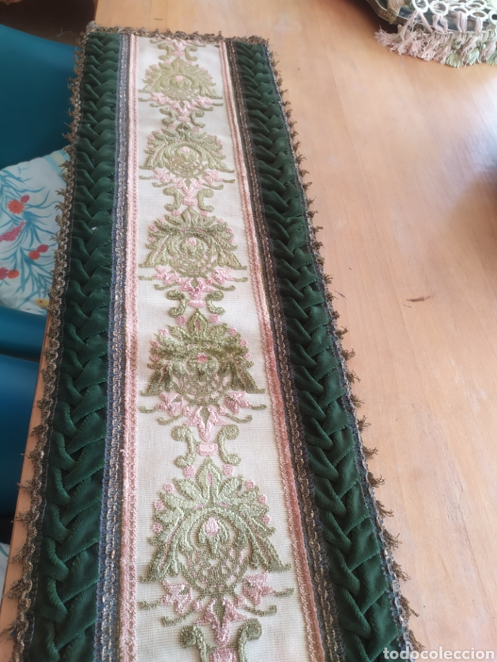 Antigüedades: -&- Camino de mesa , terciopelo verde y tonos rosas - Foto 2 - 195291421