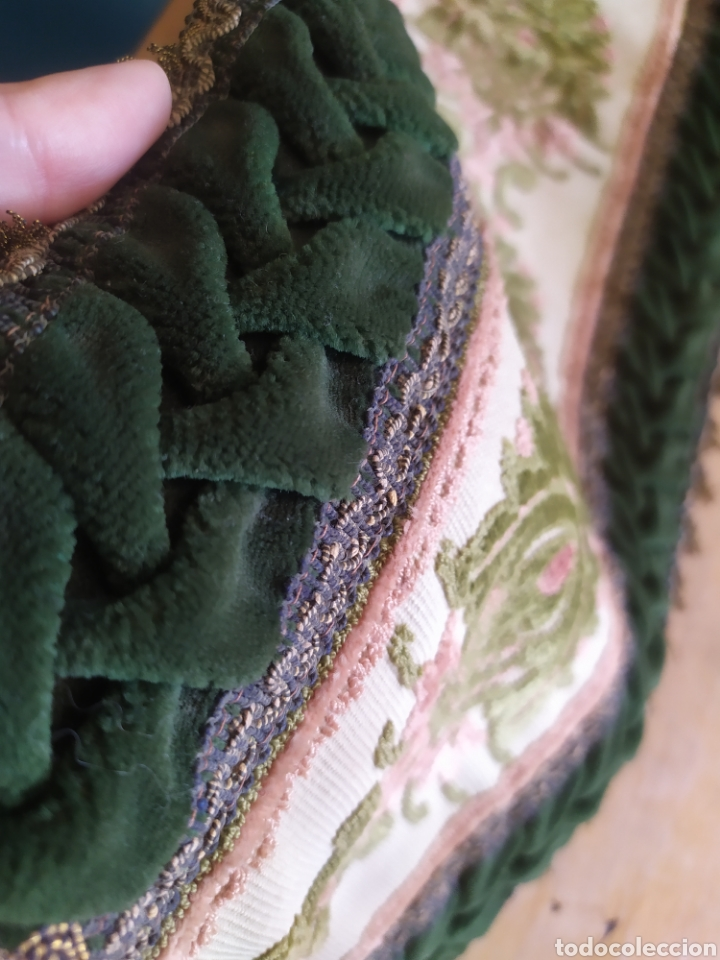 Antigüedades: -&- Camino de mesa , terciopelo verde y tonos rosas - Foto 3 - 195291421