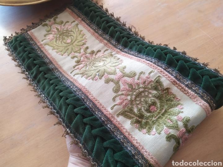 Antigüedades: -&- Camino de mesa , terciopelo verde y tonos rosas - Foto 4 - 195291421