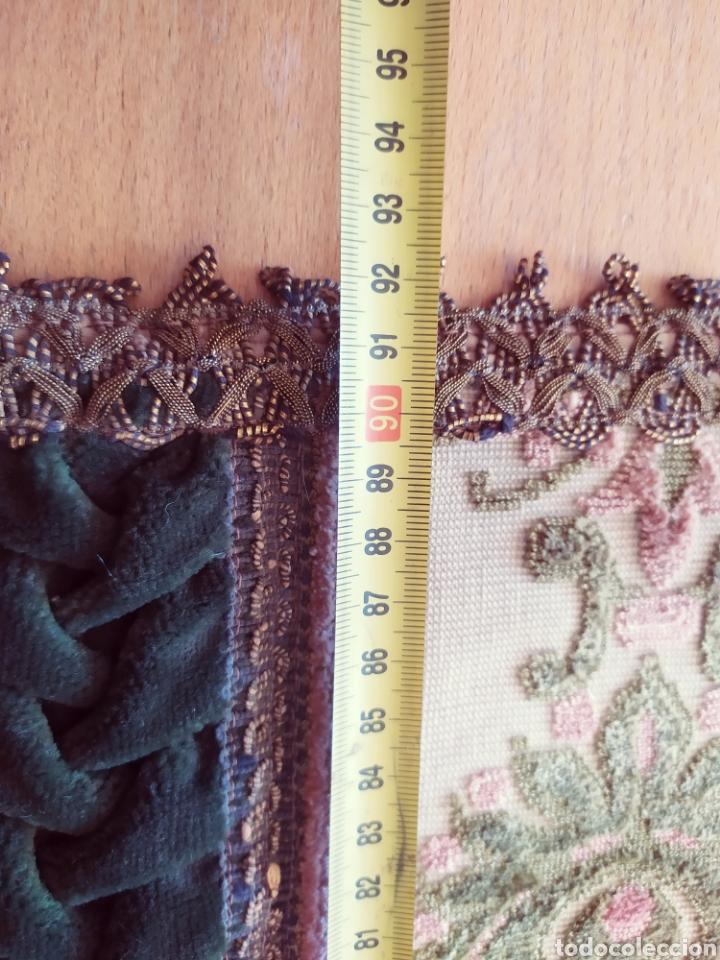 Antigüedades: -&- Camino de mesa , terciopelo verde y tonos rosas - Foto 7 - 195291421